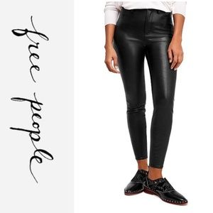 NWT FREE PEOPLE High Rise Faux Leather Jeans Pants